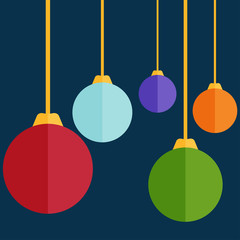 Flat design christmas balls. Vector illustration