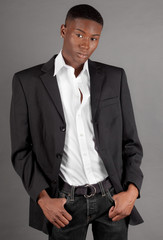 Handsome African American Man in Blazer and Jeans