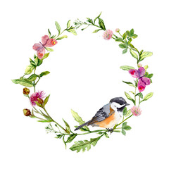 Retro wreath border frame with wild herbs, meadow flowers, bird and butterflies. Vintage watercolor