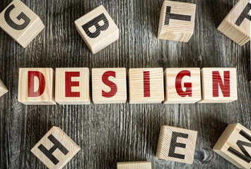 Wooden Blocks with the text: Design