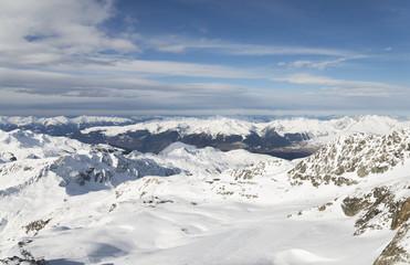 Winter alpine ski resort landscape panorama