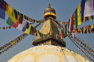 Fotobehang Nepal Boudnath Stupa with lots of colorful prayer flags and doves in Kathmandu