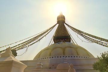 Sun shining above boudnath stupa in Kathmandu Nepal
