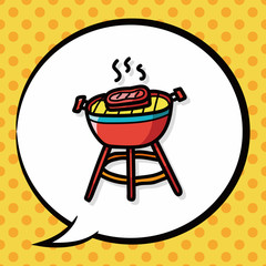 BBQ color doodle, speech bubble