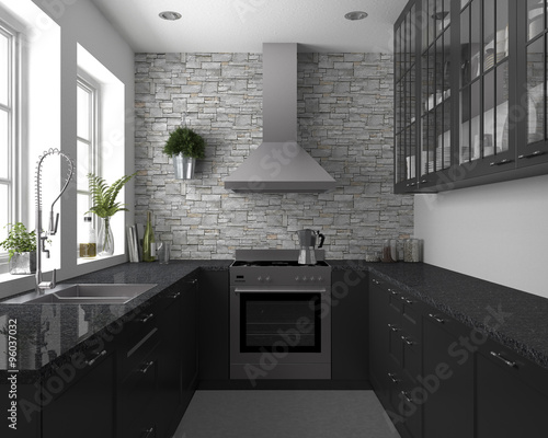 kleine k che mit granitplatte imagens e fotos de stock royalty free no imagem. Black Bedroom Furniture Sets. Home Design Ideas