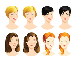 set of pretty woman's face with different emotions. woman's head with different haircut