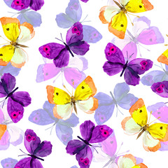 Seamless trendy backdrop with colourful watercolour painted butterflies
