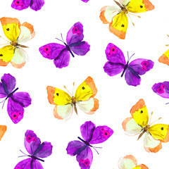 Seamless repeated wallpaper tile with violet and yellow watercolor drawing - butterflies on white background