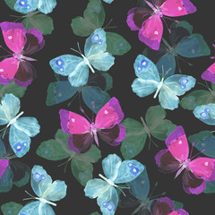 Seamless dark pattern with transparent night butterflies on black background