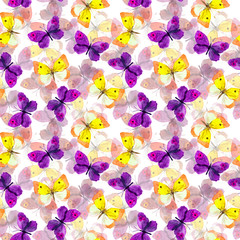 Seamless repeated pattern with colorfull watercolor painted beautiful butterflies