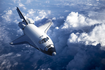 Fotomurales - Space Shuttle Landing In The Clouds