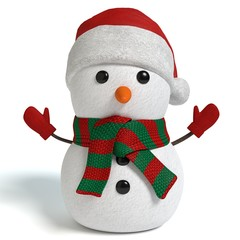3d illustration of a holiday snowman