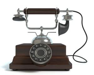 3d illustration of a vintage phone