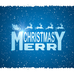 Merry Christmas and Santa on blue background