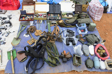 Old military equipment flea market
