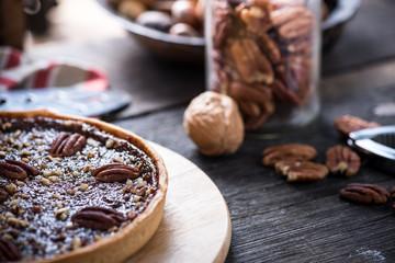 Traditional pecan nut pie