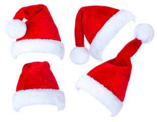 Christmas collage of red Santa Claus hats
