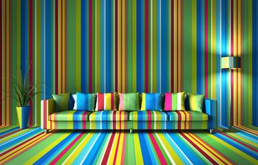 Sofa - bunte Streifen