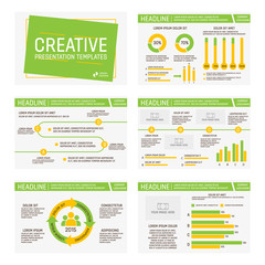 Vector template for multipurpose presentation slides with graphs and charts. Infographic element and symbol icon template. Powerpoint templates and themes