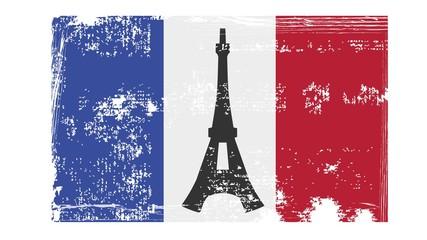 Flage Frankreich mit Eiffelturm