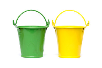 small buckets isolated on white background