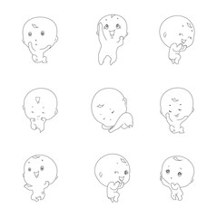 set of  cute baby illustration vector logo design