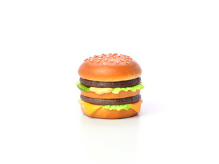 mini burger model from japanese clay on white background