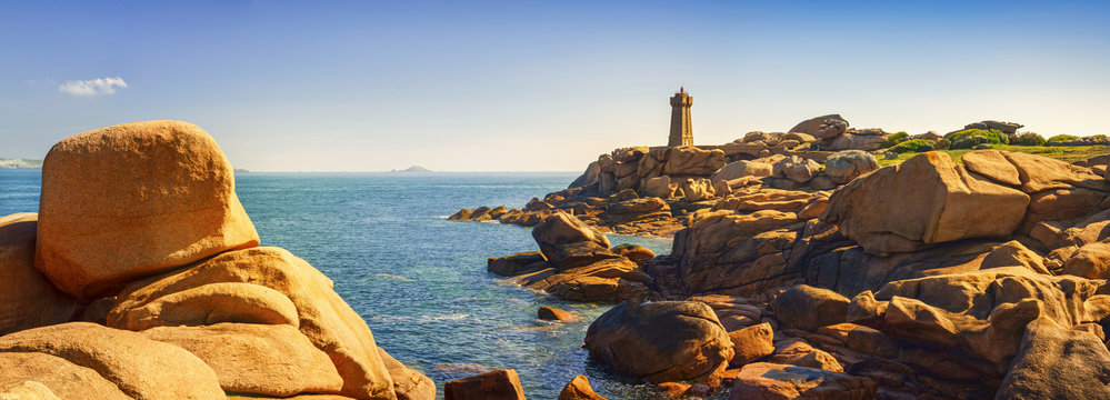 Ploumanach lighthouse in pink granite coast, Brittany, France.