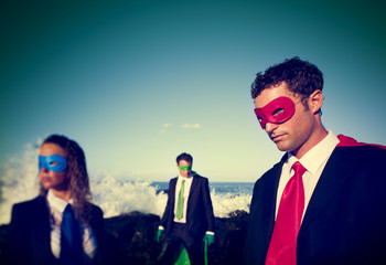 Business superheroes on the beach Confidence Concept