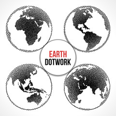 Set of Earth Planet Globe. Vector Dotwork