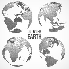 Set of 3D Earth Planet Globe. Vector Dotwork