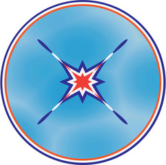 The peace symbol in tricolor. Vector illustration round symbol in the clipping layer sky.