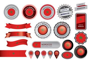 Made in Morocco Seal, Moroccan Flag (Vector Art)