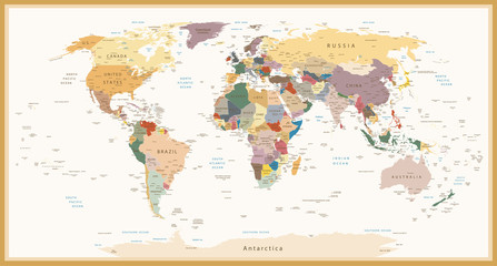 Poster de jardin Carte du monde Highly Detailed Political World Map Vintage Colors