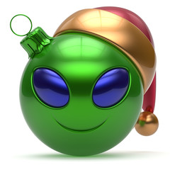 Christmas ball Happy New Year's Eve bauble smiley alien face cartoon cute emoticon decoration green. Merry Xmas cheerful funny smile Santa hat person character toy laughing eye joy adornment 3d render