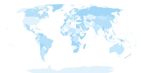 Acrylic Prints World Map Highly Detailed Blind World Map and Soft Blue Colors