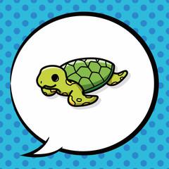 sea animal turtle doodle, speech bubble