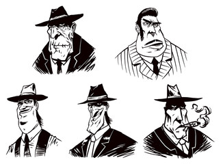 Vector Set of Gangsters. Cartoon image of five gangster of different ages in suits and hats, painted in black on a white background.