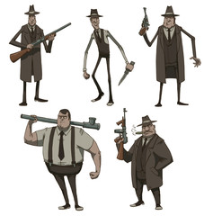 Vector Set of Retro Mafiosi. Cartoon images of five retro mafiosi of different physique , different ages in suits, hats and capes with different weapons in hand on a white background.