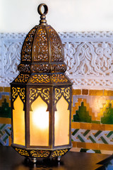 Moroccan design lamp or lantern made of metal and glass