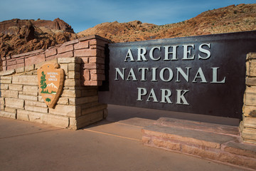 Poster de jardin Parc Naturel Arches National Park entrance sign