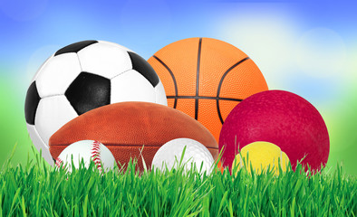 Sports balls over green grass over nature background