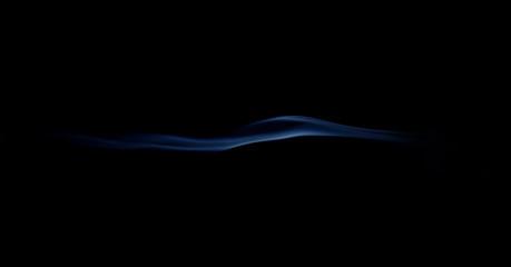 blue smoke wave isolated on black background