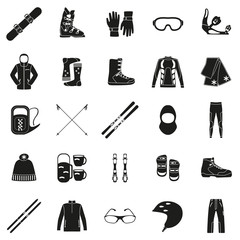 Set of equipment, cloth and shoes for winter kind of sports. Snowbord, mountain skies, cross country skies. Special protection cloth and shoes. Silhouette design. Ski icons series.