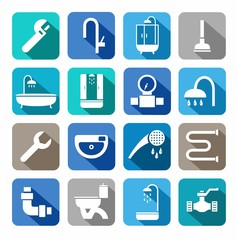 Plumbing, icons, colored background, shadow.