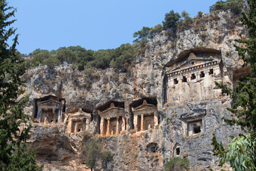Ancient Lycian Rock Tombs in Fethiye, Turkey