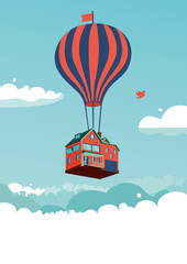 House above the clouds. Vector illustration with a flying house and hot air balloon.