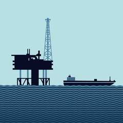 Sea oil platform with a tanker. Flat style vector illustration for a fuel industry