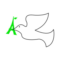 illustration vector of dove of peace with green Eiffel tower