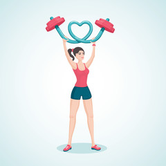 Young girl lifting a barbell in the shape of a heart.Cartoon vector illustration. Character design.